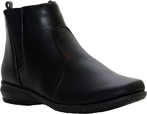 Mens Boys Dr Keller Leather Black Shoes Winter Comfort Zip Casual Boots UK 6-11