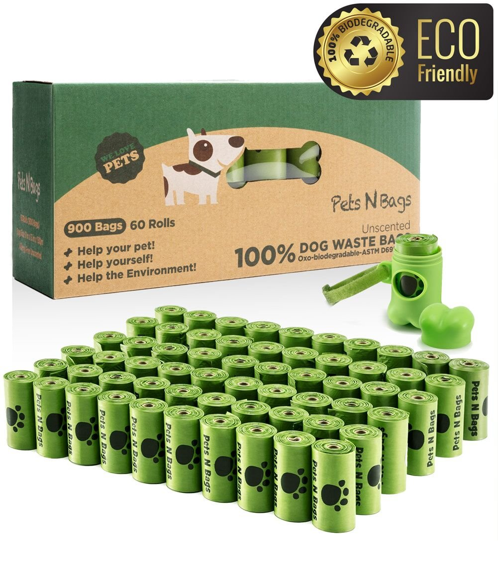Pets N Bags Dog Waste Poop Bags, Biodegradable, Refill Rolls (60 Rolls / 900 Count, Unscented), Includes Dispenser by Pets N Bags