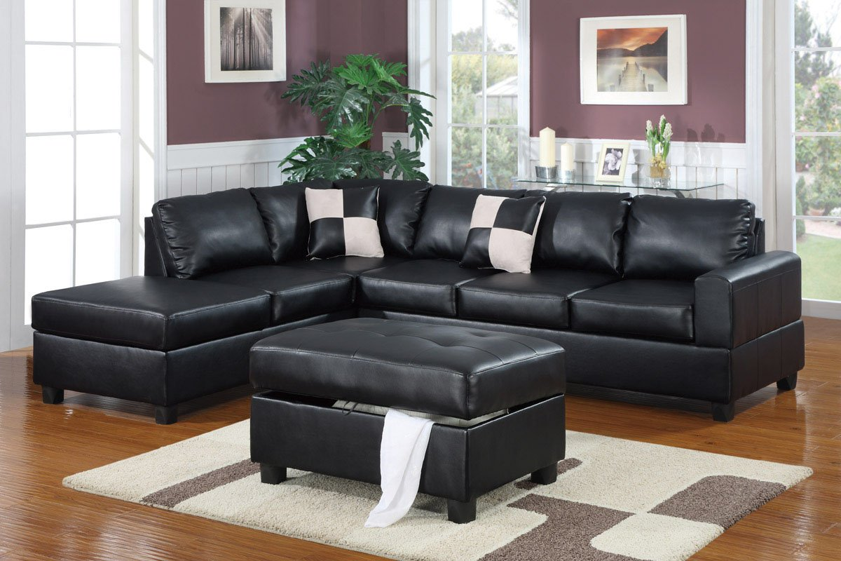 Amazon.com: Lombardy Sectional Sofa In Bonded Leather With Free Ottoman And  Pillows (Black): Kitchen U0026 Dining