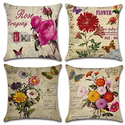 HuifengS Fundas de cojín cuadradas de Lino para sofás o Camas, Rosa, crisantemo, Girasol, Juego de 4 Fundas de cojín, 45 x 45 cm