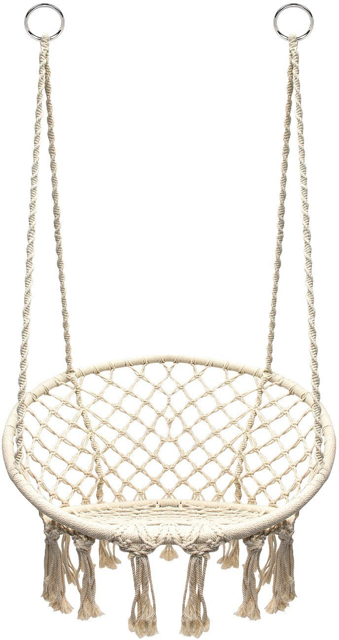 Petra Leisure Bohemian Chic Macrame Dream-Catcher Tassel Rope Chair. Perfect for Indoor/Outdoor Home, Patio, Deck, Yard, Garden. 265LB Weight Capacity.
