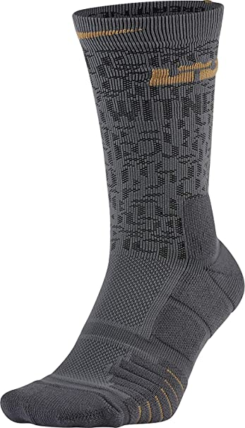 beacb0736f3d NIKE Elite Lebron Quick Basketball Crew Socks (Dark Grey Black Flt Gold