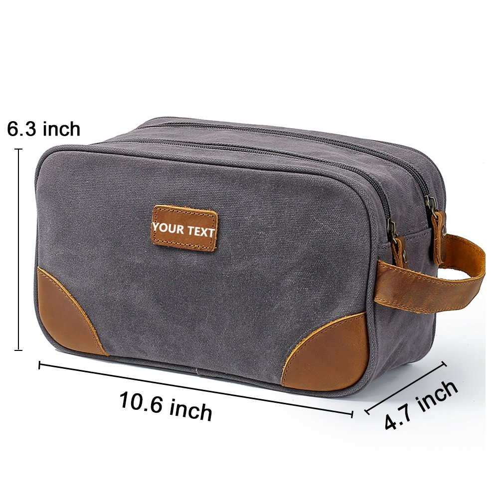 9326ab15a5 Amazon.com   Kemy s Personalized Canvas Toiletry Bag for Men Women  Customized Vintage Monogrammed Dopp Kit Mens Bathroom Travel Cosmetic Bag  Dob Kits Double ...
