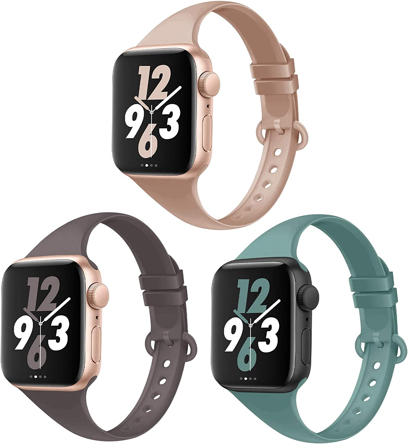 Acrbiutu Bands Compatible with Apple Watch 38mm 40mm 42mm 44mm, 3 Pack Thin Slim Narrow Replacement Soft Silicone Sport Accessory Strap Wristband for iWatch SE Series 6/5/4/3/2/1 Women Men