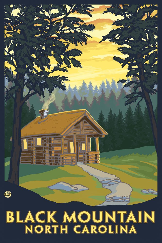 Black Mountain, North Carolina - Cabin Scene (9x12 Art Print, Wall Decor Travel Poster)