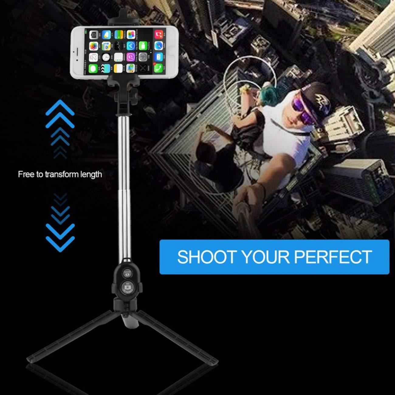 Negro JIUY Mini tr/ípode port/átil 3 en 1 autorretrato del tel/éfono m/óvil Selfie palillo de Soporte de Escritorio del sostenedor del Clip