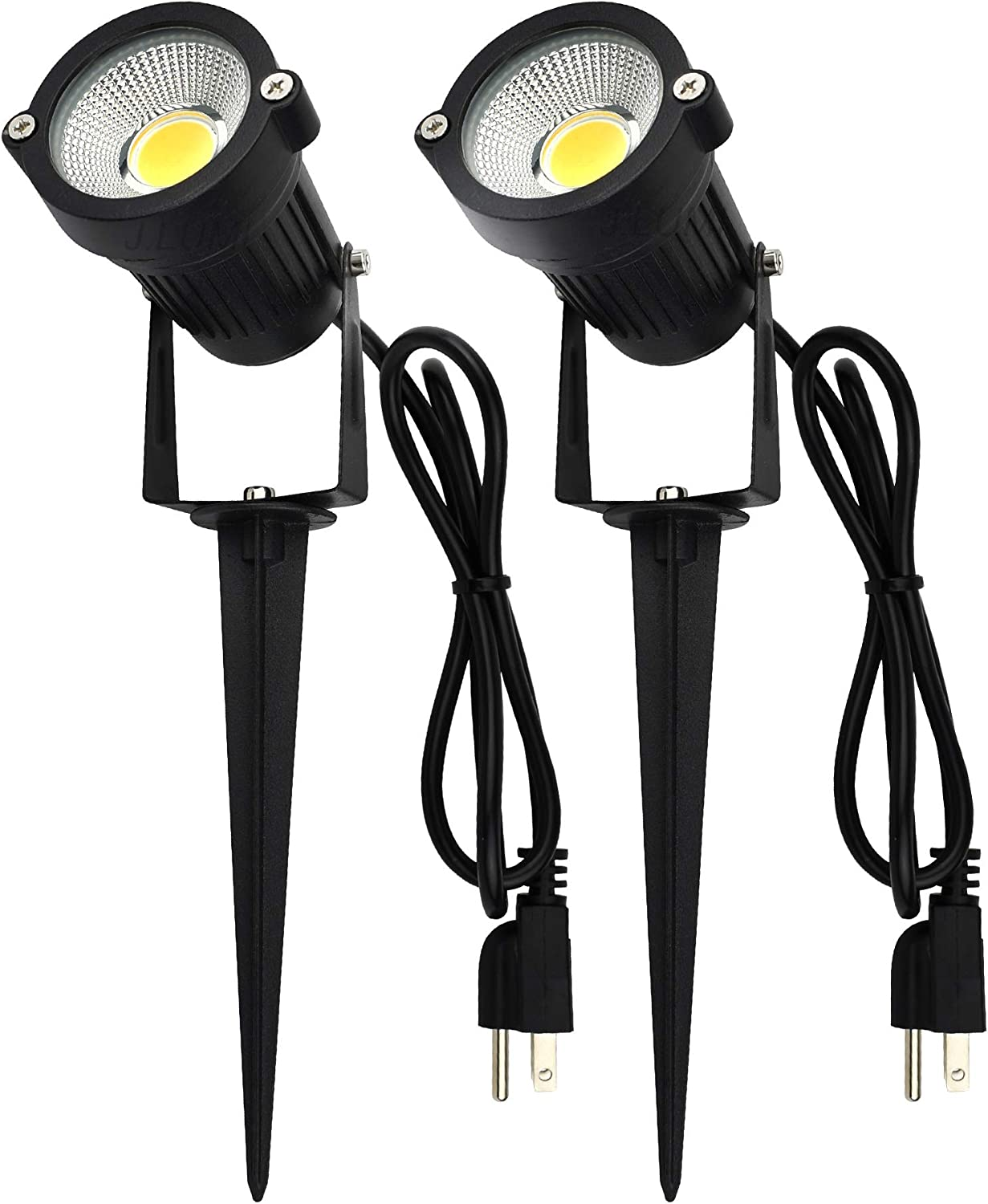 J.LUMI GSS6005 Outdoor LED Spotlights 5W, 120V AC, 3000K Warm White, Outdoor Use, Metal Ground Stake, Flag Light, Outdoor Spotlight with Stake, UL Cord 3-ft with Plug (Pack of 2): Home Improvement