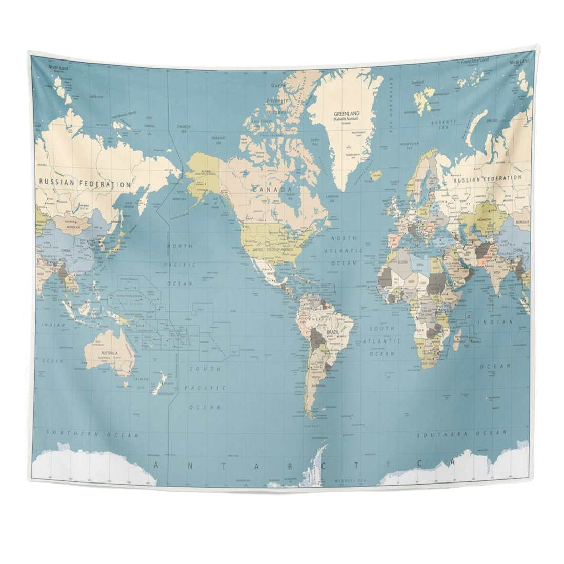 Emvency Tapestry World Map Retro Colors America Centered All are Separated Home Decor Wall Hanging for Living Room Bedroom Dorm 50x60 inches
