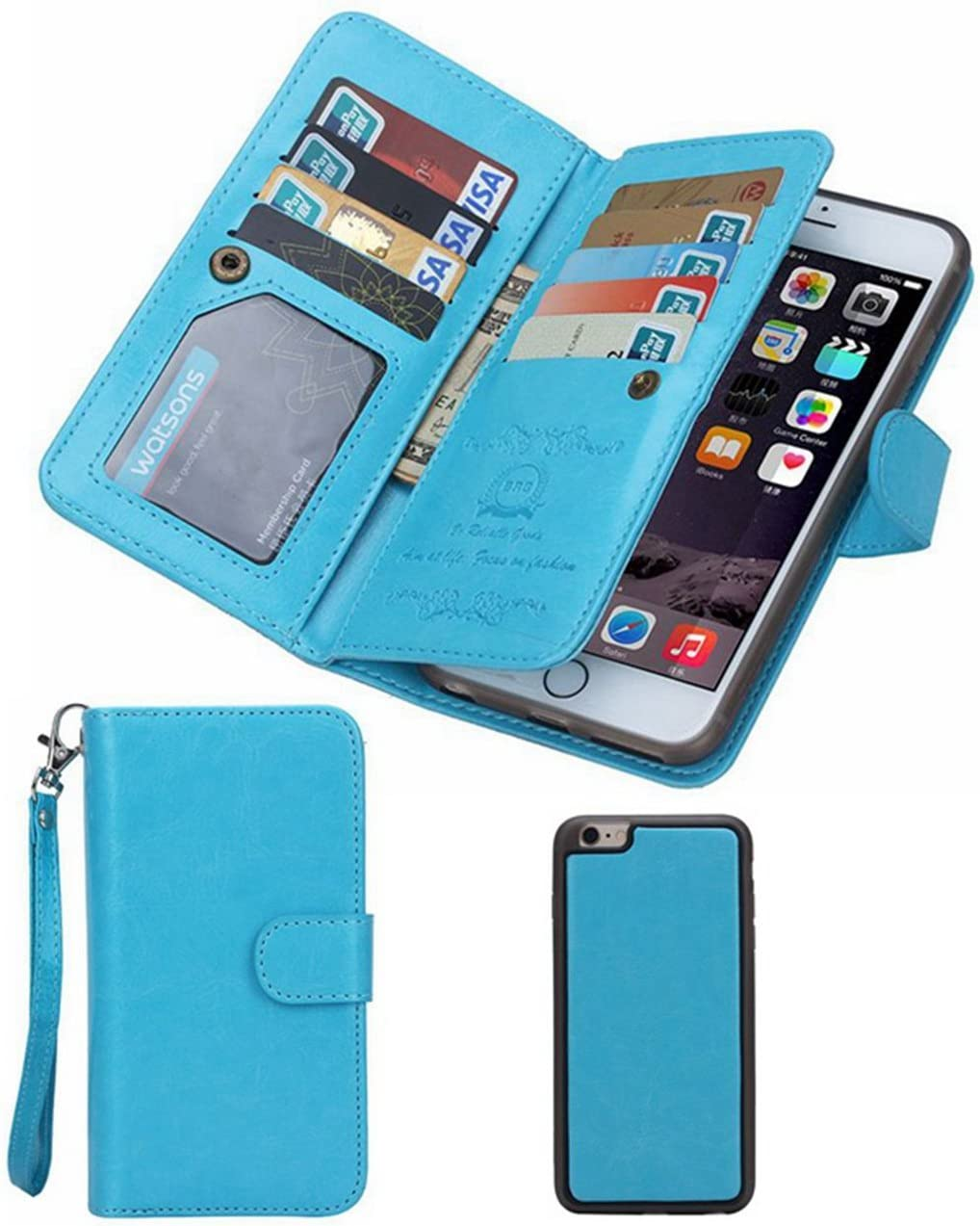 iPhone 5S/SE Wallet Case, HYSJY Magnetic Detachable PU Leather Wallet Purse for Women Men with Strap, Credit Card Slots, Card Holer,Flip Slim Cover Case Fit iPhone 5/5S/SE (Card-Blue)