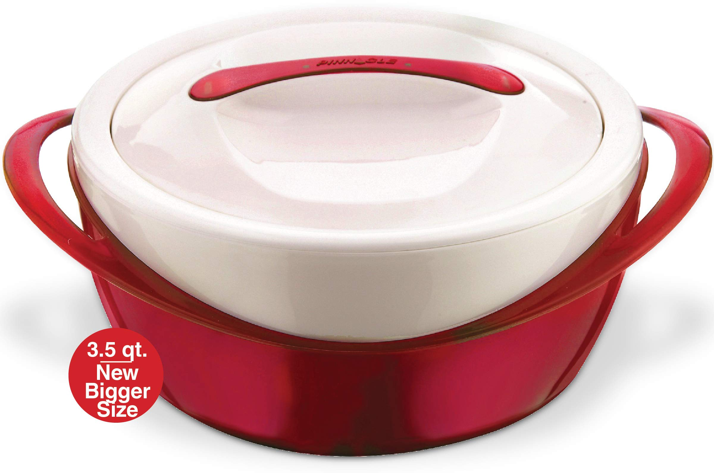 Pinnacle Casserole Dish - Large Soup and Salad Bowl - Insulated Serving Bowl With Lid (3.6 qt, Red)
