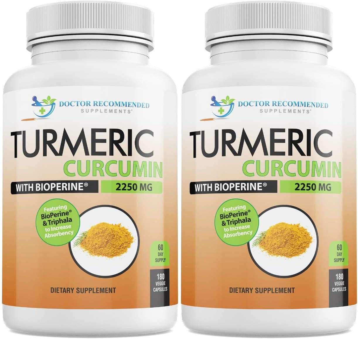 Turmeric Curcumin with Bioperine – 360 Veggie Caps – 2250mg 95 Curcuminoids Highest Max Potency with Black Pepper for Anti-Inflammatory Joint Pain Relief Pills – Supplement with Triphala