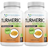 Turmeric Curcumin - 2250mg/d - 180 Veggie Caps - 95% Curcuminoids with Black Pepper Extract (Piperine) - 750mg capsules - 100% ORGANIC - Most powerful Turmeric Supplement -(2 Pack)
