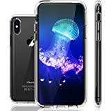 iPhone X Case, LOHASIC Clear Crystal Slim & Thin Fit Protective Hybrid Transparent Hard Scratch Resistant Back Cover Soft Frame Bumper with Air Cushion Shockproof Cases for Apple iPhone X 10-Clear