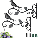 "HEVERP Wall Hook Hanging Plant Bracket 2 Pack 11.8"" Iron Bird Feeders Hook Hander for Flower Baskets, Feeders,Street Lights,"