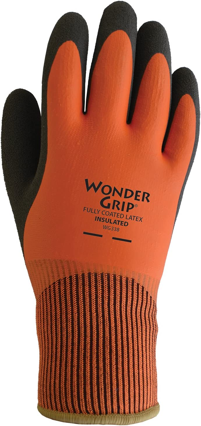 LFS WG338S Insulated Double-Dipped Incredibly Comfortable Work Gloves Latex Coated Water Resistance Palm, Small, Orange/Black