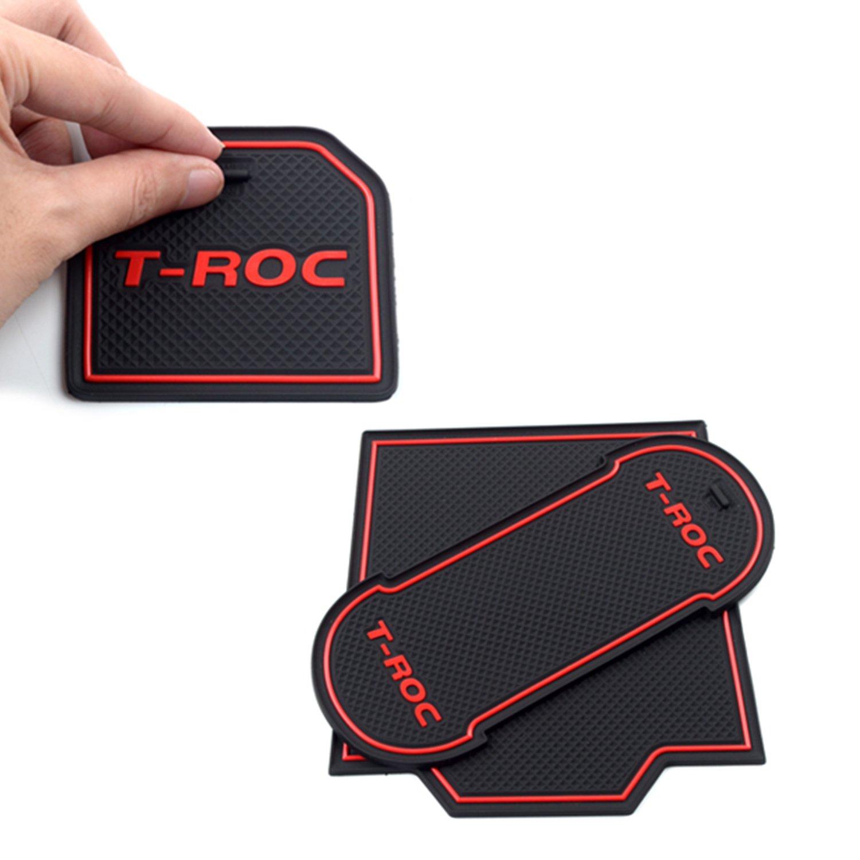 LFOTPP T-Roc Tapis en Caoutchouc Anti-d/érapant Tapis Car Styling Int/érieur Rouge