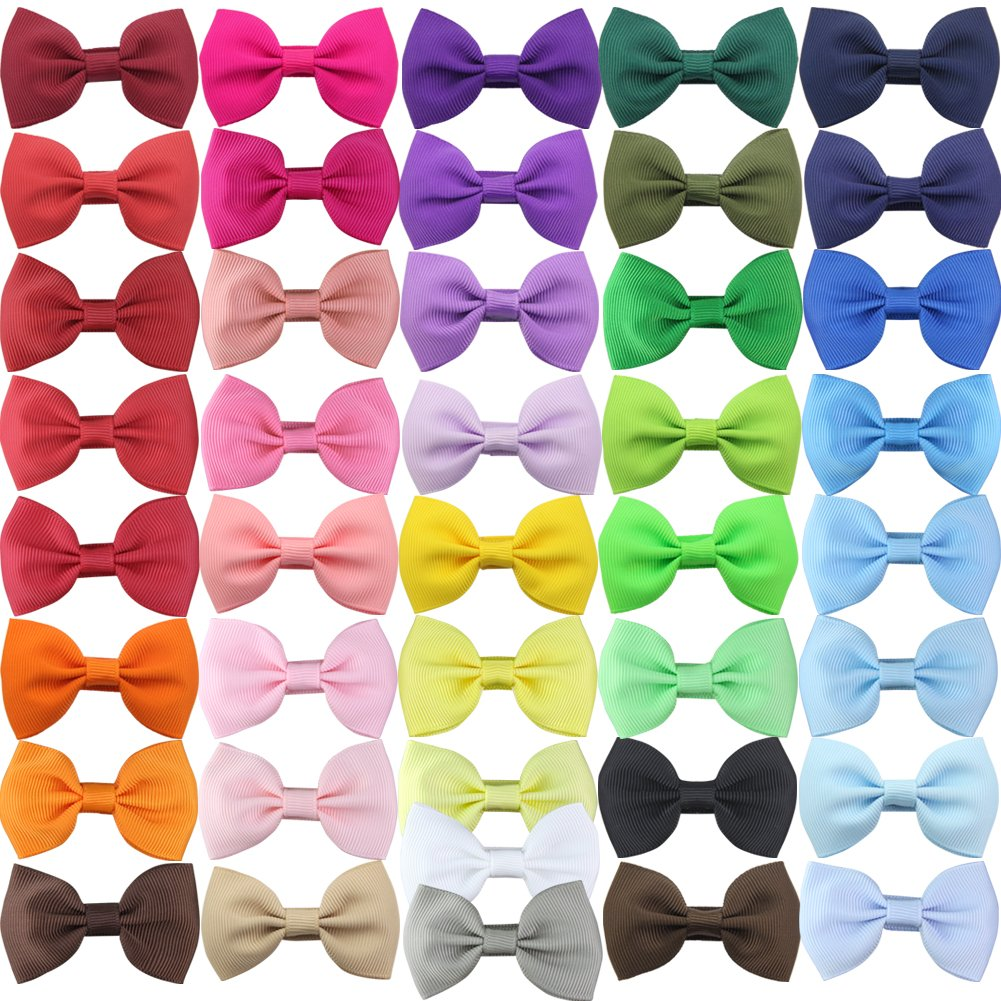 QtGirl 41 Pieces 2.5' Mini Bowknot Grosgrain Hair Bows with Covered Clips