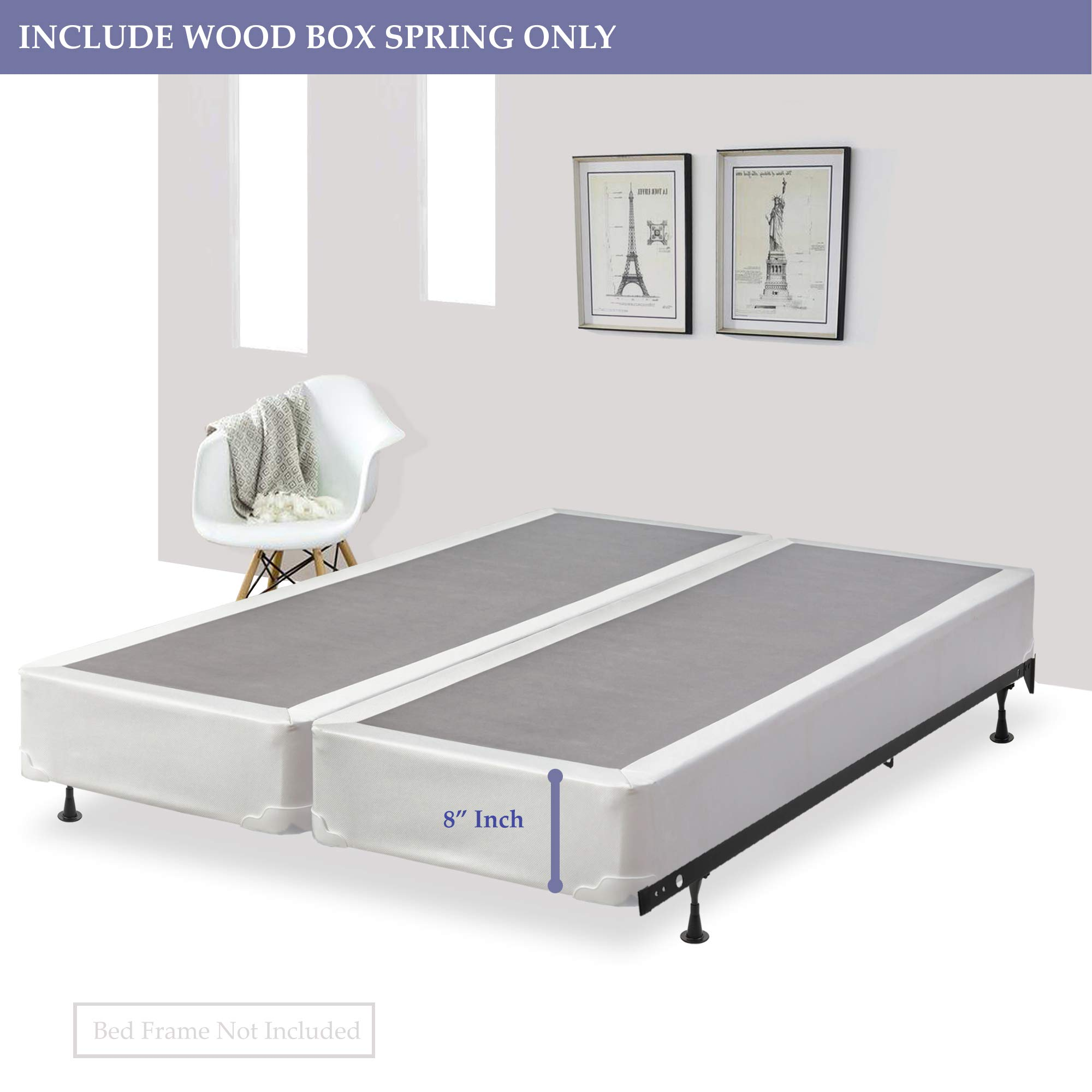 Spring Solution, 8-inch Fully Assembled Split Box Spring/Foundation for Mattress, Queen Size by Spring Solution