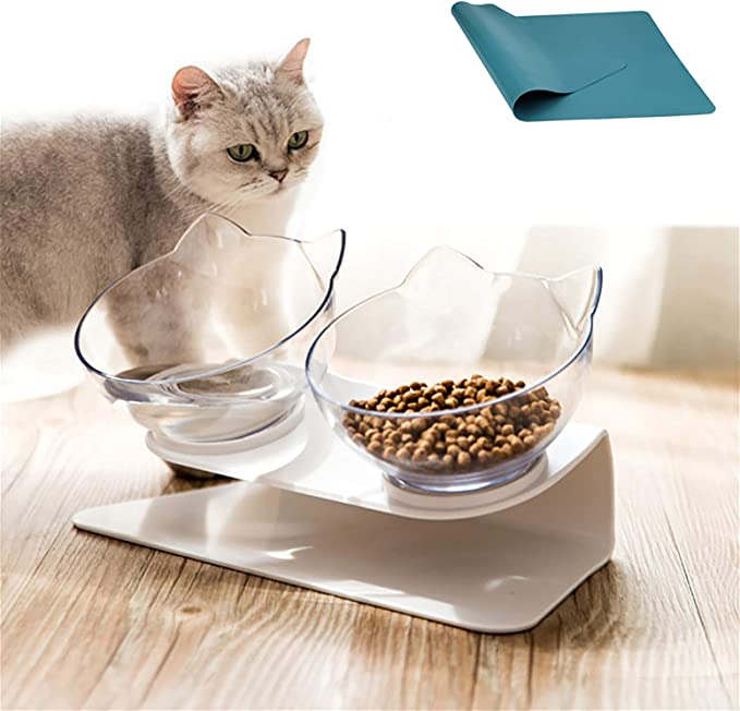 Raised The Bottom for Cats and Small Dogs Click Image to Open expanded View Video Laifug Elevated Double Cat Bowl,Pet Feeding Bowl