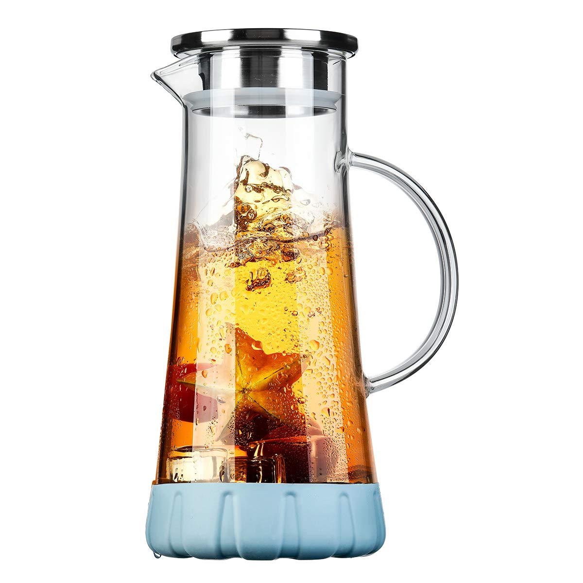 BOQO Glass Water Pitcher,50 Oz Carafe with Lid,Glass Water Jug with Particular Coaster and Brush,Glass Water Jar