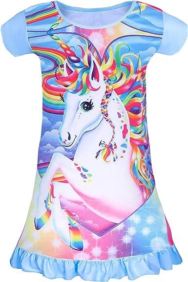 mama stadt Pijama Vestido para Niña Camisón de Unicornio Rainbow: Amazon.es: Ropa y accesorios