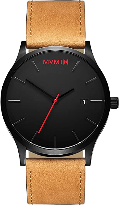 MVMT Classic Watches | 45 MM Mens Analog Minimalist Watch | Black Tan