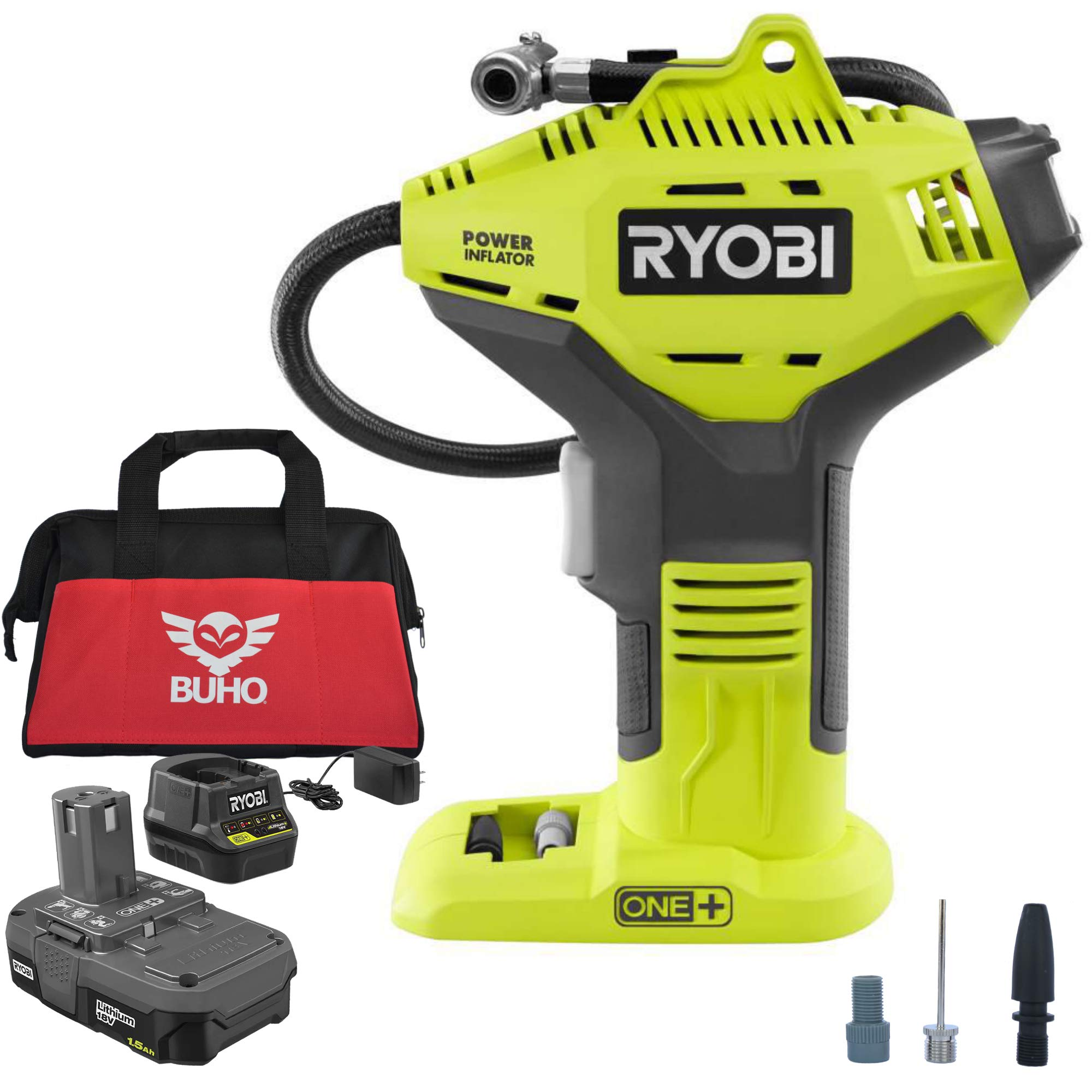 Ryobi P737 18V ONE Lithium-Ion Power Inflator Kit P107 Battery P118B Charger