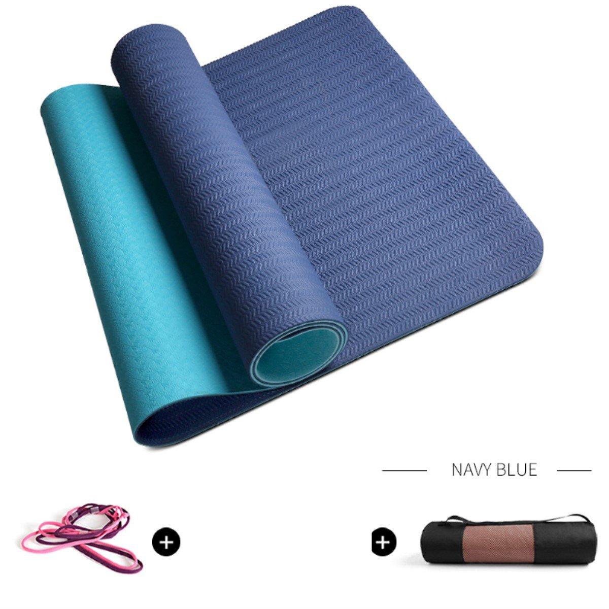 Marine GLJ Tapis De Fitness épaissie Et épaissie Tapis De Yoga pour Débutant Insipide Tapis de Yoga (Couleur   Marine, Taille   Thickness 6mm) Thickness 8mm