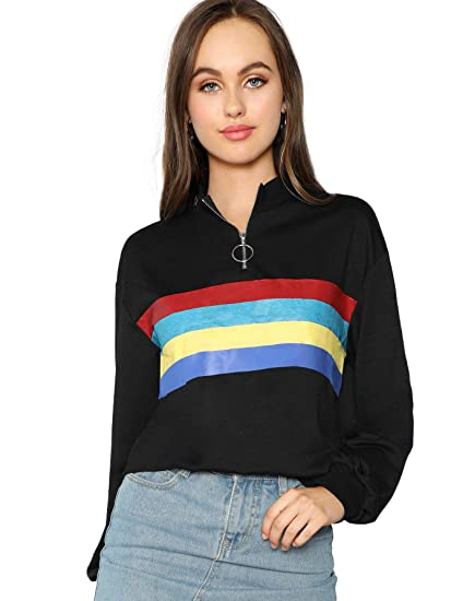 898c89962dc SheIn Women s Casual Long Sleeve High Neck Top Zipper Front Pullover  Sweatshirts X-Small Black