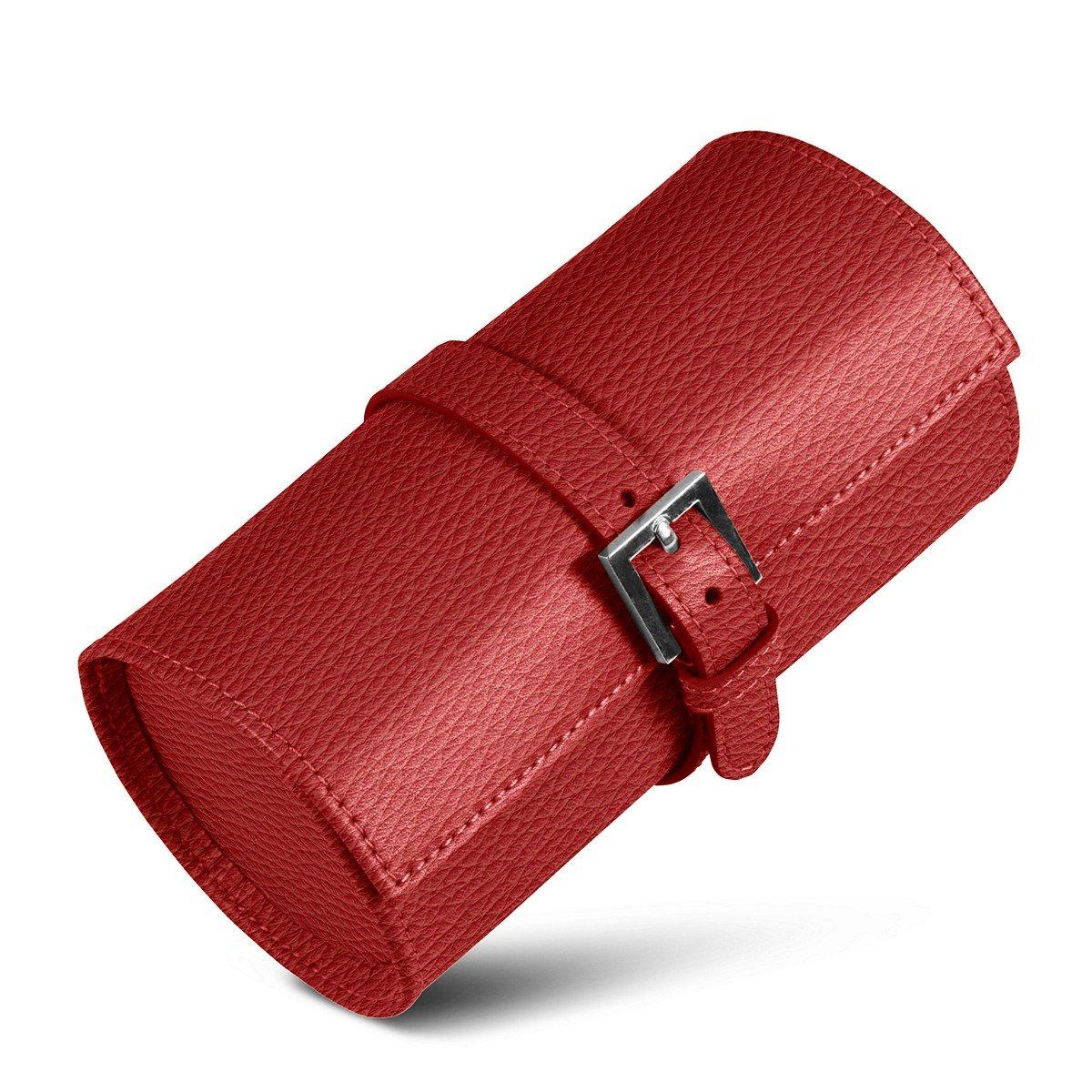 Lucrin - Runden Uhrboxen - Rot - Leder genarbt