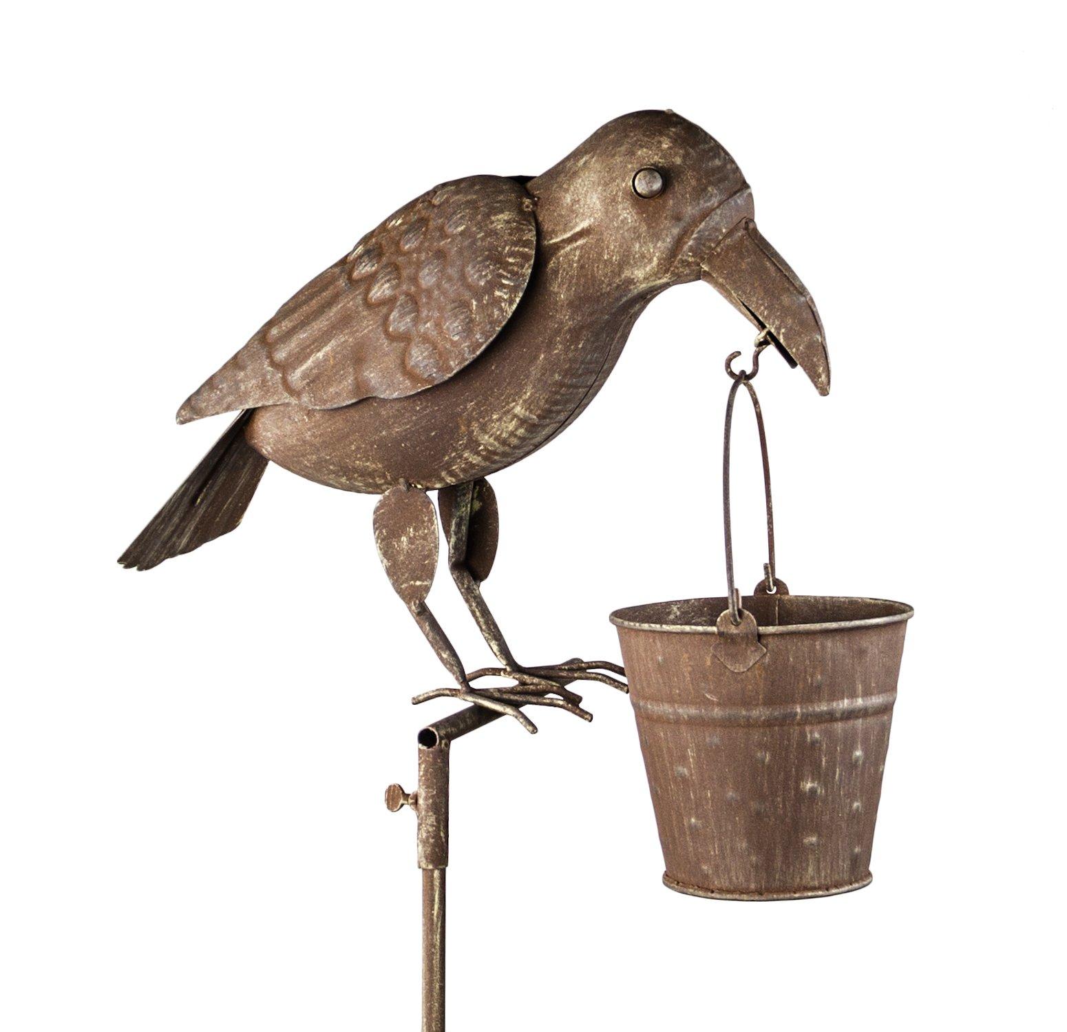 Tall Rustic ''Crow with a Basket'' Bird Feeder - Primitive Décor