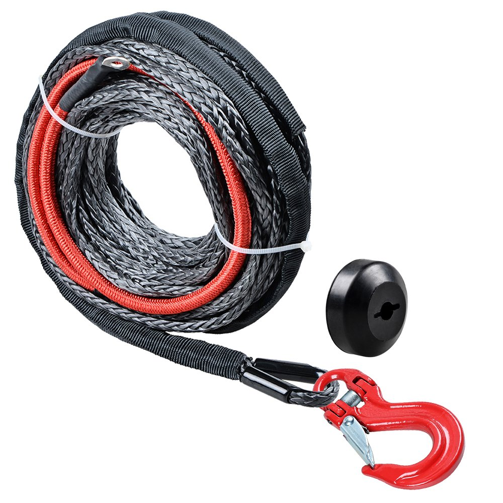 Astra Depot (1pc) 50ft x 1/4 inch Black Synthetic Winch Rope Cable 22' Heat Guard 5400LBS + Rubber Stopper + RED Heavy Duty Half-Linked Hook Truck ATV UTV KFI