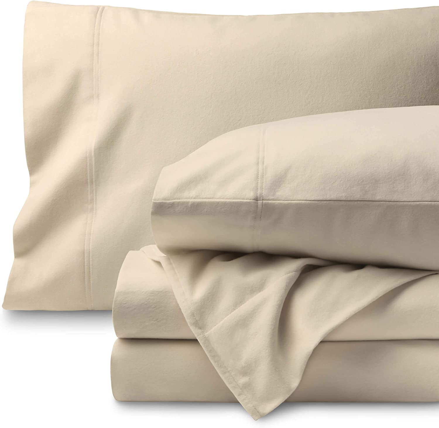 Bare Home Flannel Sheet Set 100% Cotton, Velvety Soft Heavyweight - Double Brushed Flannel - Deep Pocket (Twin, Sand)