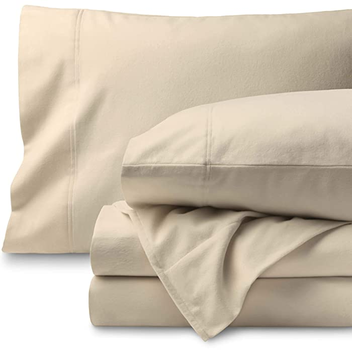 Bare Home Flannel Sheet Set 100% Cotton, Velvety Soft Heavyweight - Double Brushed Flannel - Deep Pocket (King, Sand)
