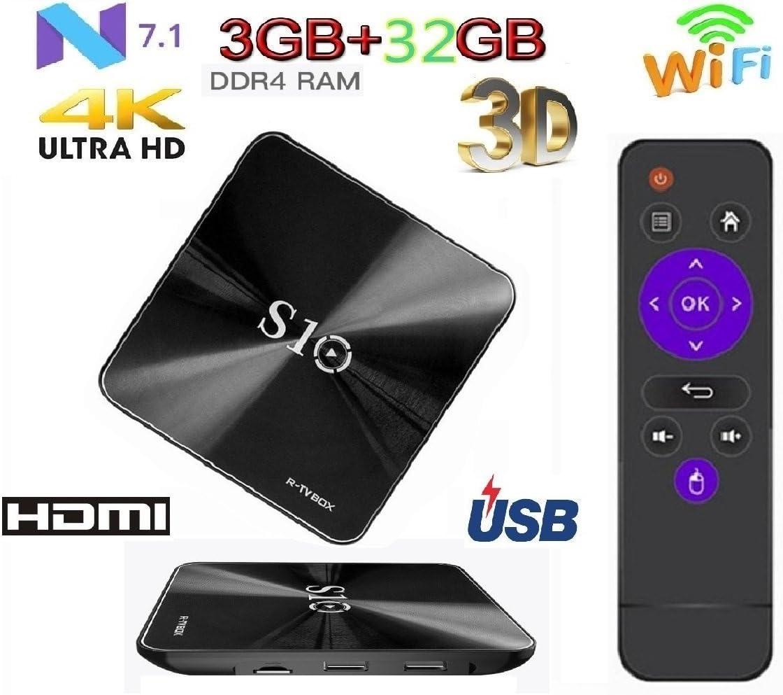 Penkou - Smart TV box 3 GB DDR4 RAM + 32 GB ROM Amlogic 912 Octa Core HD TV Bluetooth 4.1 Android 7.1 WiFi para 4K: Amazon.es: Electrónica