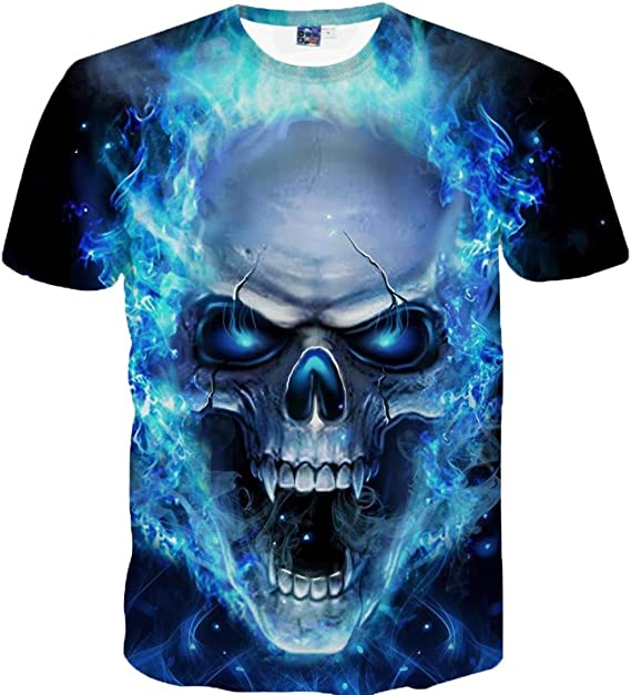 Mikkar Mens Graphic Skull T-Shirt 3D Printing Blouse Tops Tees Short Sleeve Sale