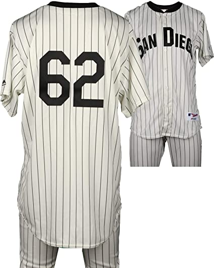 7be07afd49777 Jose Dominguez San Diego Padres Game-Used #62 White Pinstripe ...