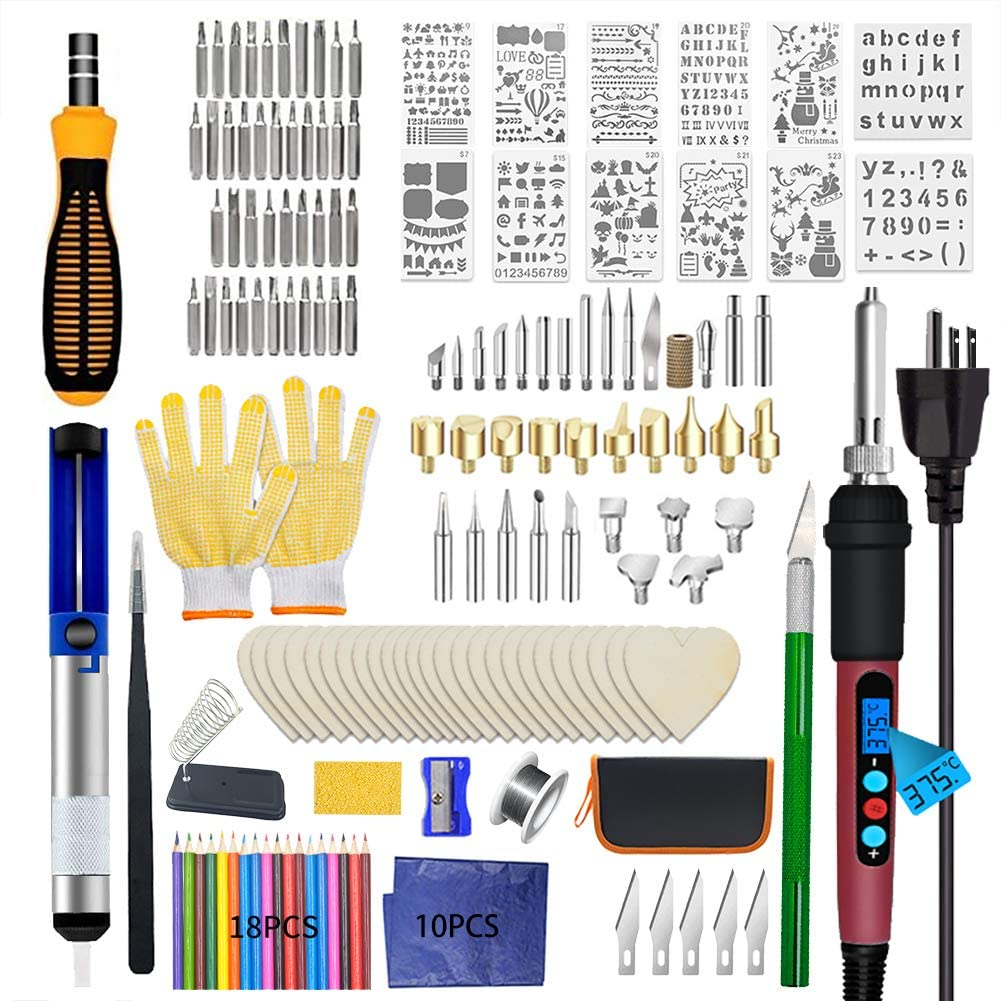 Woodburning Tool with LCD Display Adjustable Temperature Soldering Pyrography Pen,Fathers Day Wood Tool,Creative Tool DIY Kit For Embossing//Carving//Soldering Pyrography Tips 148 PCS Wood Burning Kit