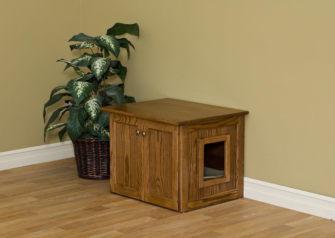Amish Made Cat Litter Box Enclosure. Solid Wood Construction.
