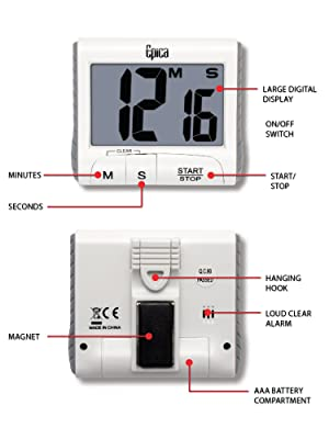 Epica Large Digit Timer/Stopwatch (Color: White)