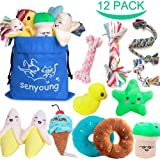 SenYoung Dog Toys,12 Pack Dog Squeaky Rope Chew Toy Sets, Interactive Cute and Safe Stuffed Plush Squeaker Toys, Tough…