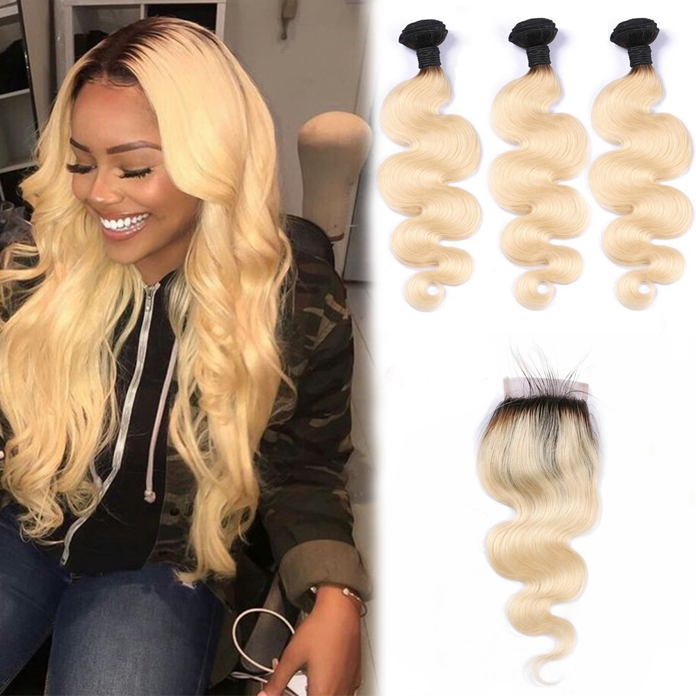 Brazilian T1b/613 Colored Two Tone 8A Hair Weave 3pcs With Closure Blonde Virgin Hair Dark Roots Ombre 613 Human Hair(16 18 20 with 14 Inch)