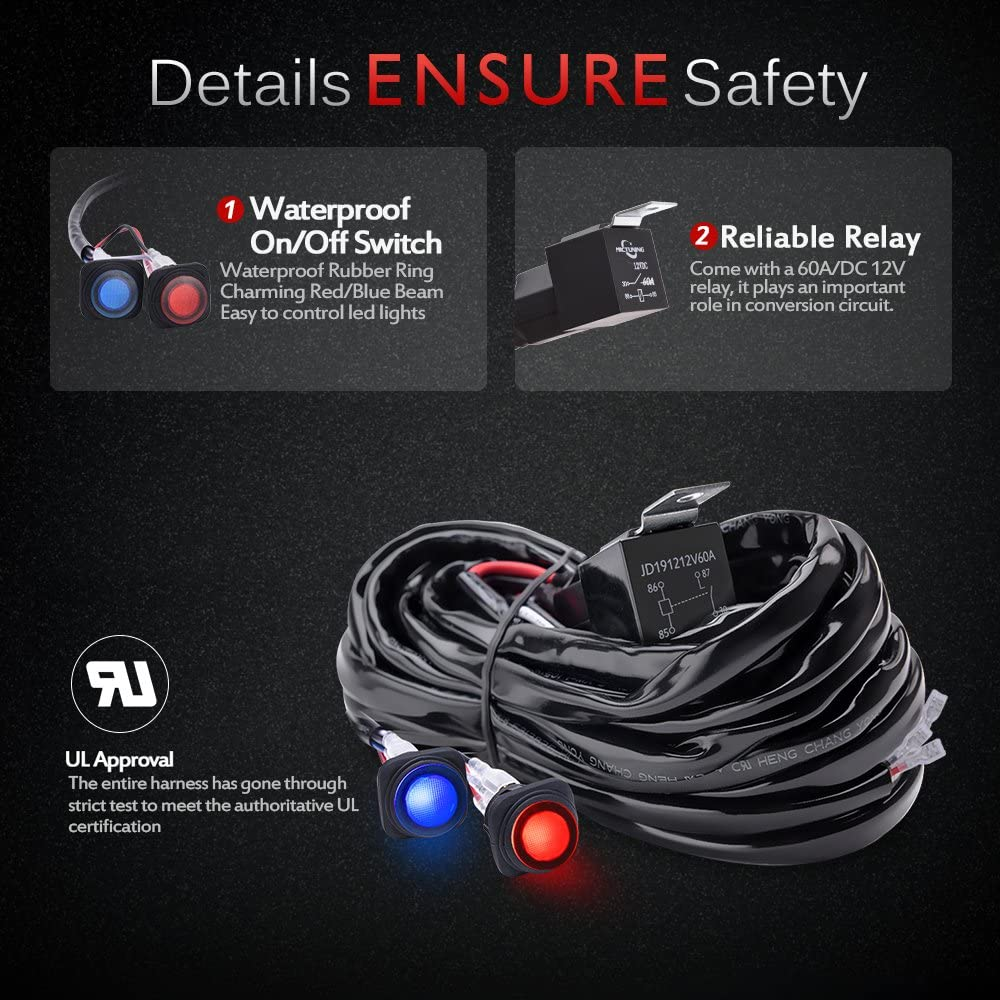 MICTUNING Heavy Duty 14AWG 300W 2-Circuit Led Light Bar Wiring Harness Kit with Fuse, 60Amp Relay, Dual Waterproof Switches Red Blue(14AWG): Automotive