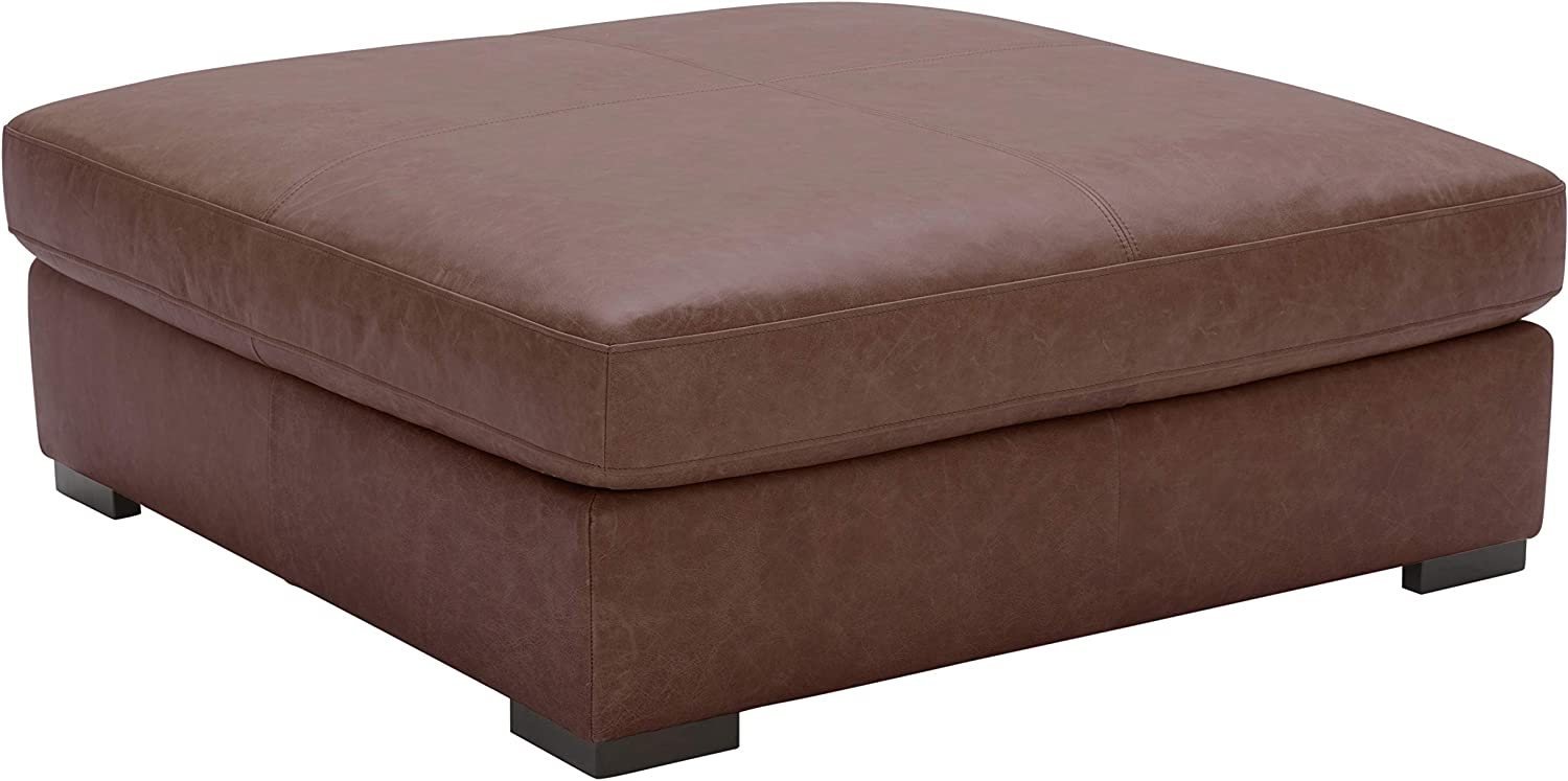 Amazon Brand – Stone & Beam Lauren Down Filled Oversized Leather Ottoman with Hardwood Frame, 46.5