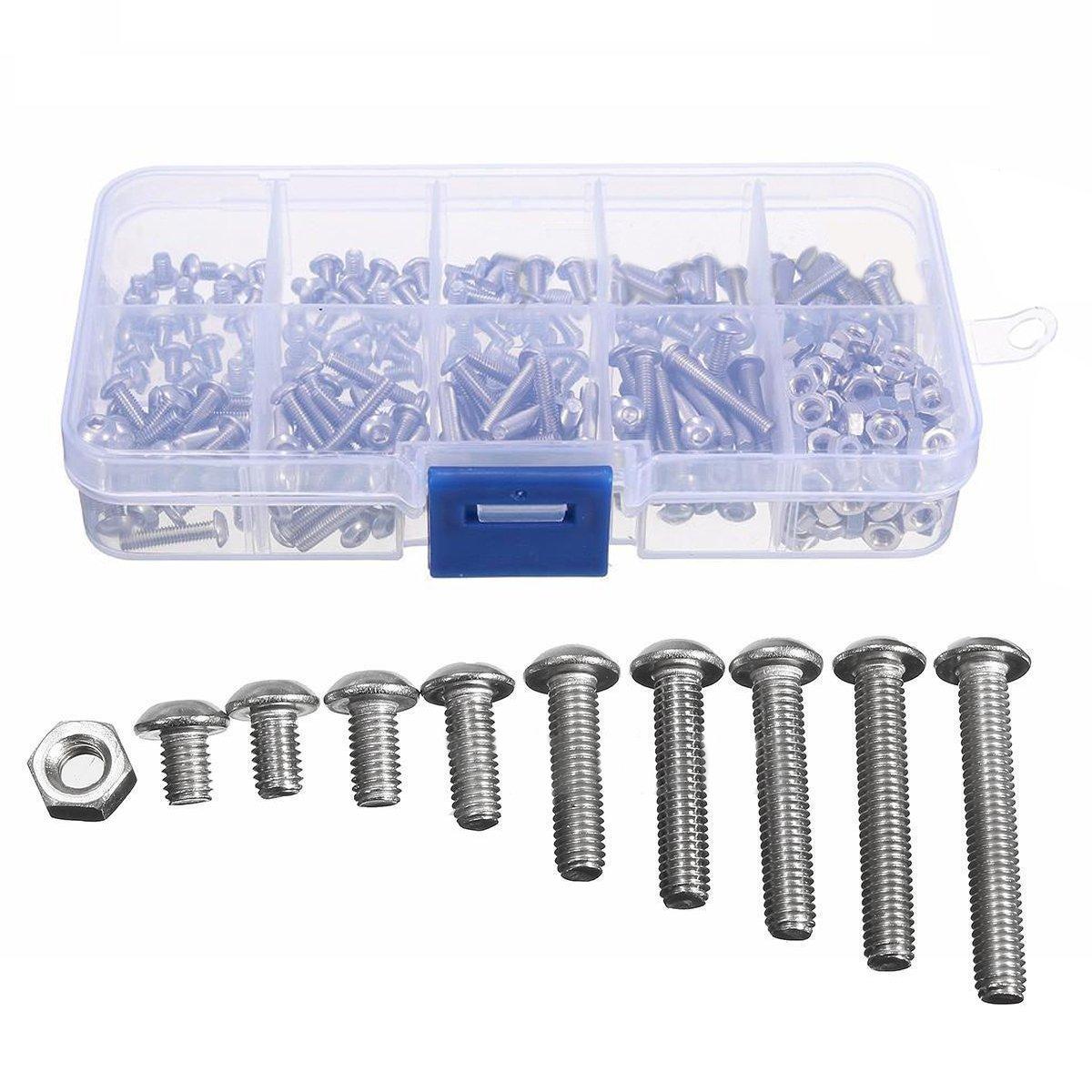 CSLU 340pcs M3 A2 Hex Screw Kit Stainless Steel Nuts Bolt Cap Socket Assortment Set For Hardware Accessories