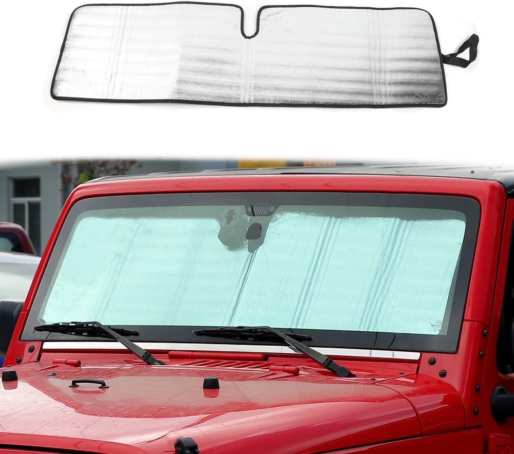 Windshield Sunshade Sun Shade Heat Shield Sun Visor Mat for Jeep Wrangler Rubicon Sahara TJ JK JKU 2 Door & 4 Door