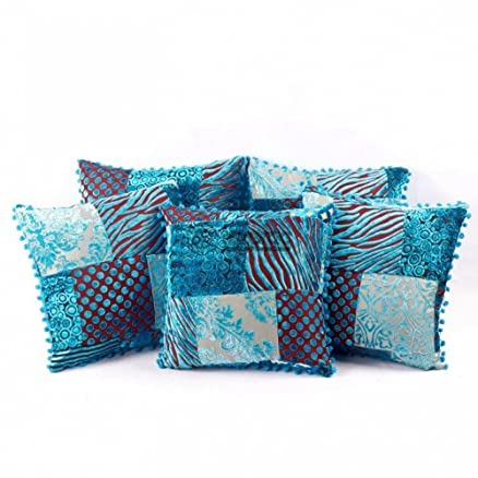 Buy Punalur cotton cushion cover set of five in printed blue color