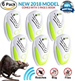 PEST CONTROL ULTRASONIC REPELLENT 6-PACK (2018 BEST MODEL) Repeller Plug In for Insects, Mice, Rats, Spiders, Fleas, Roaches, Bed Bugs, Mosquitoes, Eco-Friendly, Baby, Pet Safe & Non Toxic! WITH EBOOK