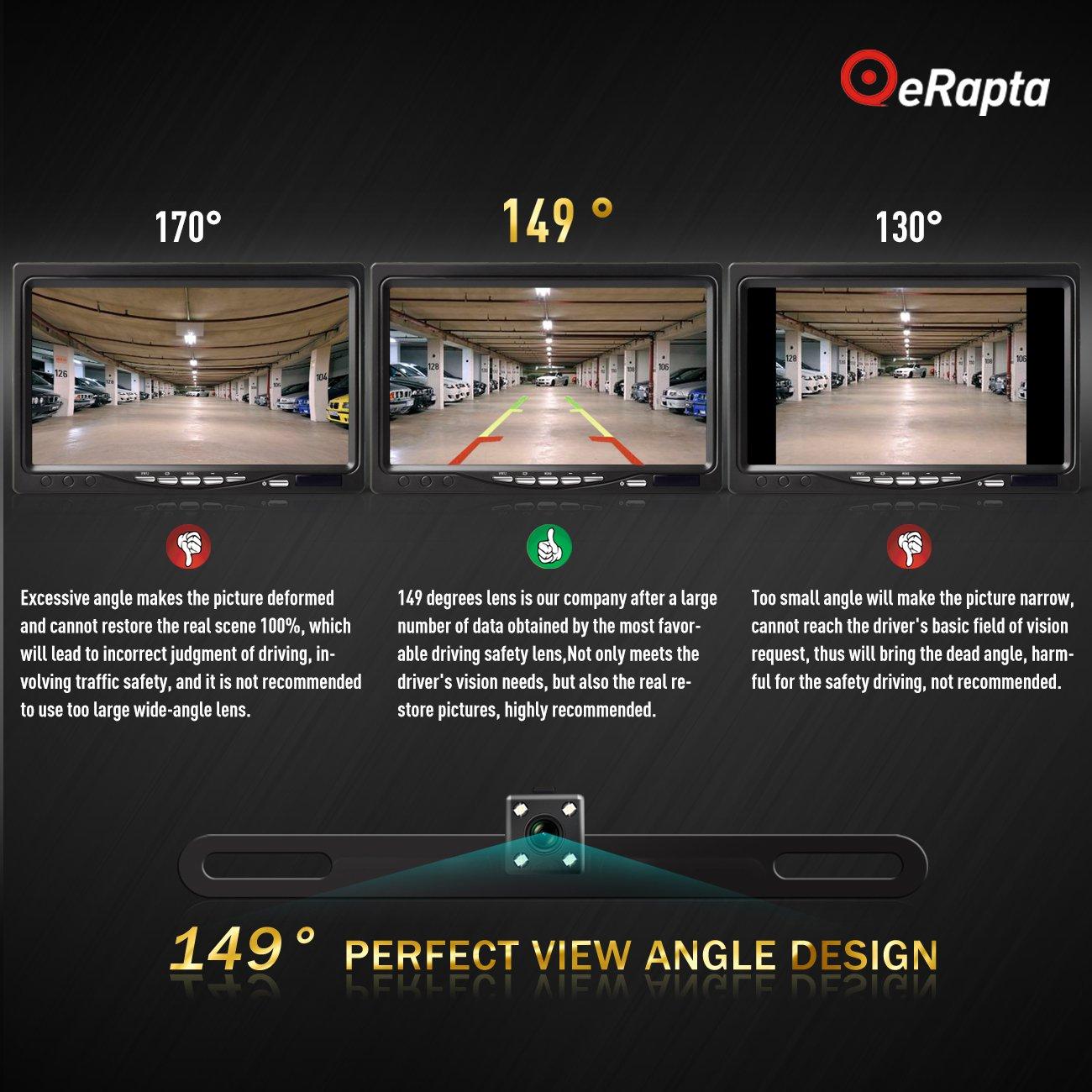 eRapta ERT3 2nd Generation Rear Reversing Backup 149°Perfect View Angle Design 4 LED Lights Night Vision 9 Level Waterproof Car Dash Security Sensor Back up Camera by eRapta (Image #3)