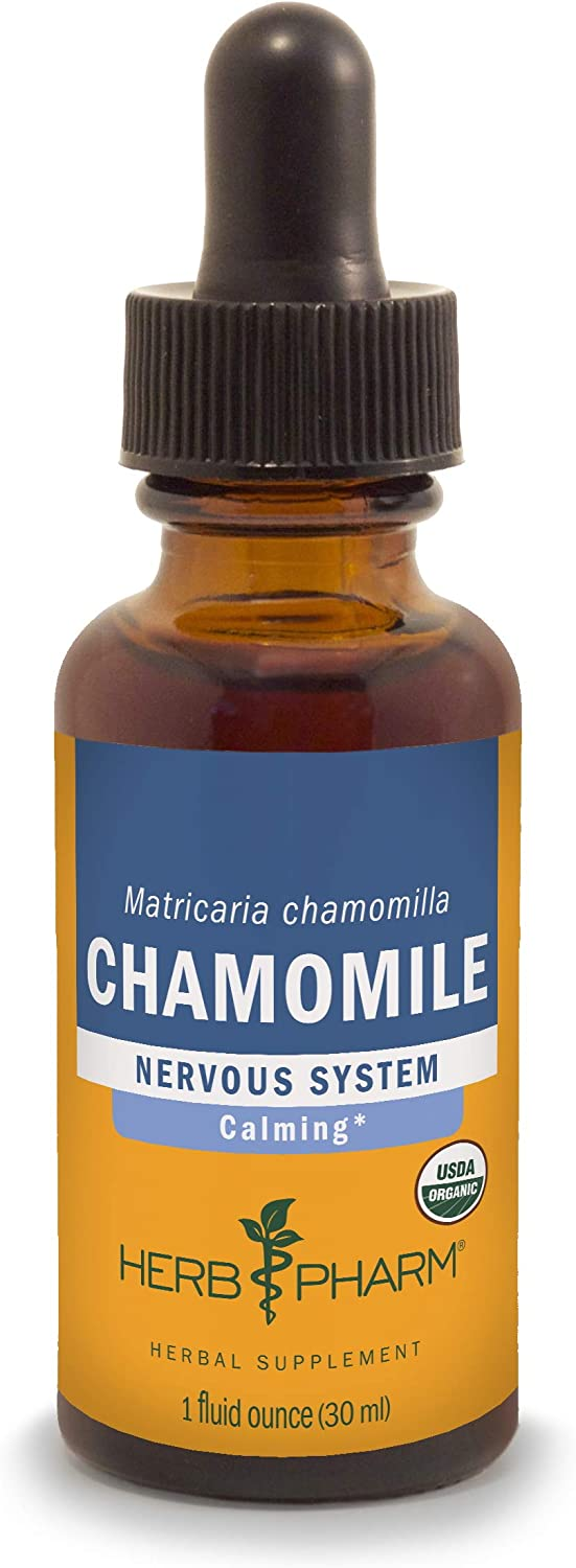 Herb Pharm Certified Organic Chamomile Liquid Extract for Calming Nervous System Support - 1 Ounce